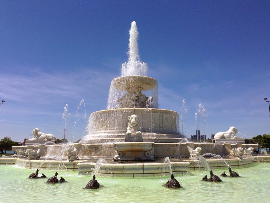 A sure sign of summer in Detroit: water flowing through James Scott Memorial Fountain